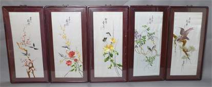 Group of 5 Chinese Embroidered Silk Panels