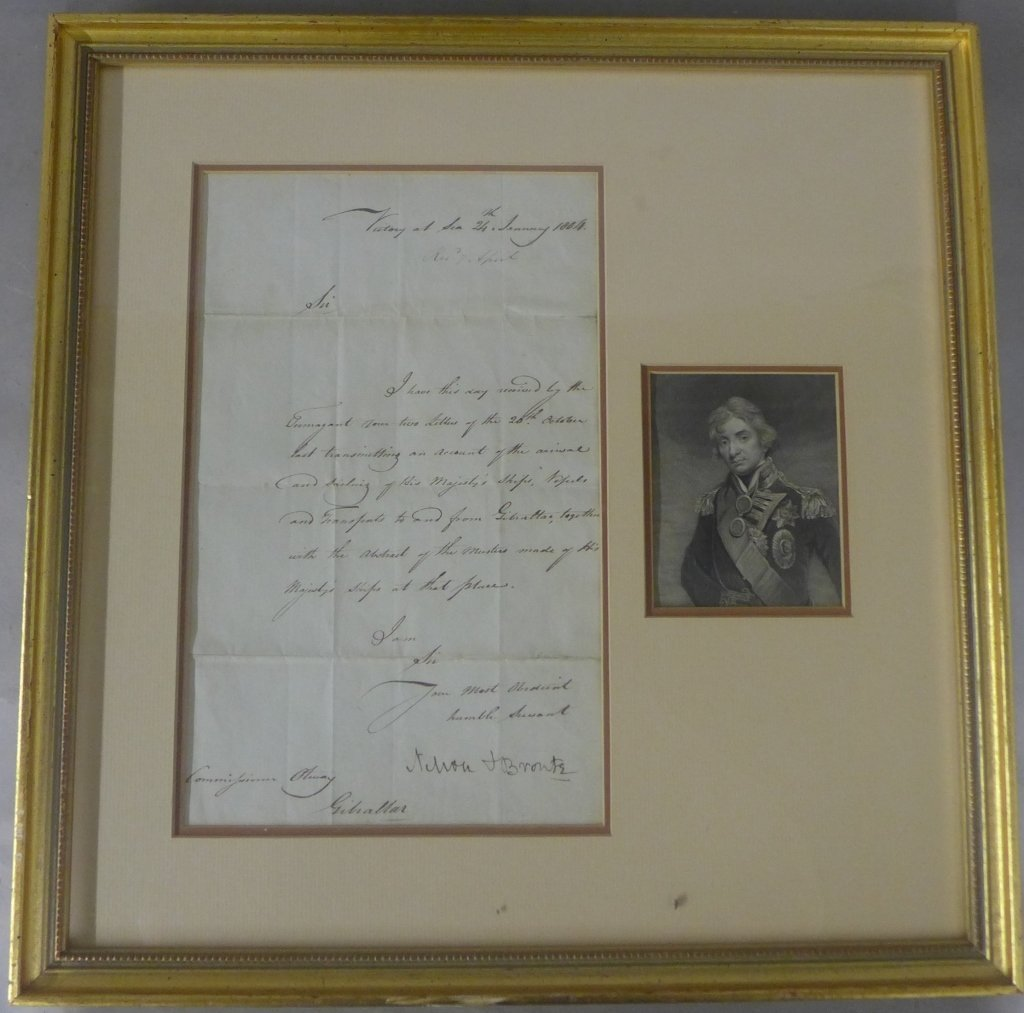 Framed Document Victory at Sea Nelson & Bronte