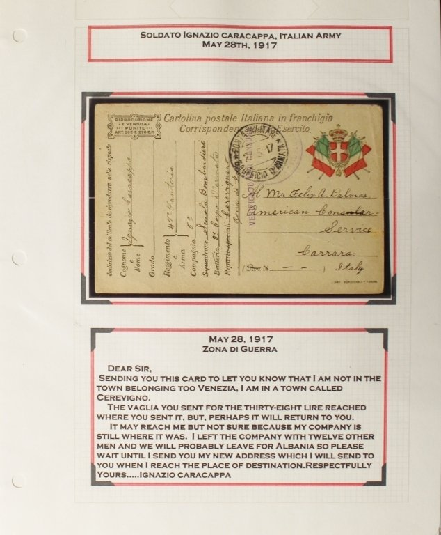 Collection of WWI Post Cards Albania Italy