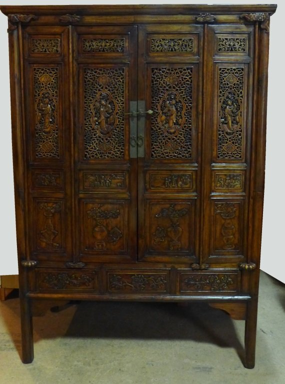 Chinese Hand Carved Wood Armoire Cabinet