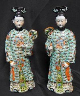 Pair Chinese Famille Rose Figural Sculptures