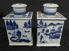 Pair Chinese Blue  White Square Tea Caddy