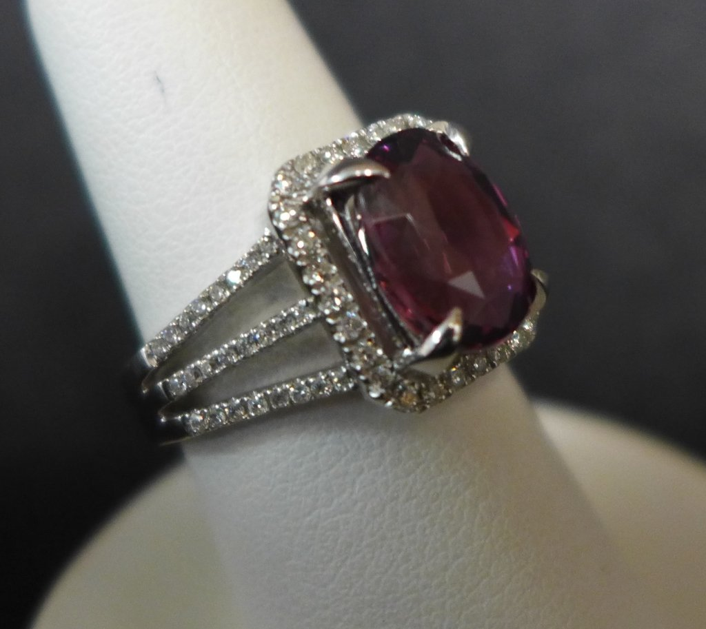 Pink Sapphire, Diamond & 18K Gold Engagement Ring