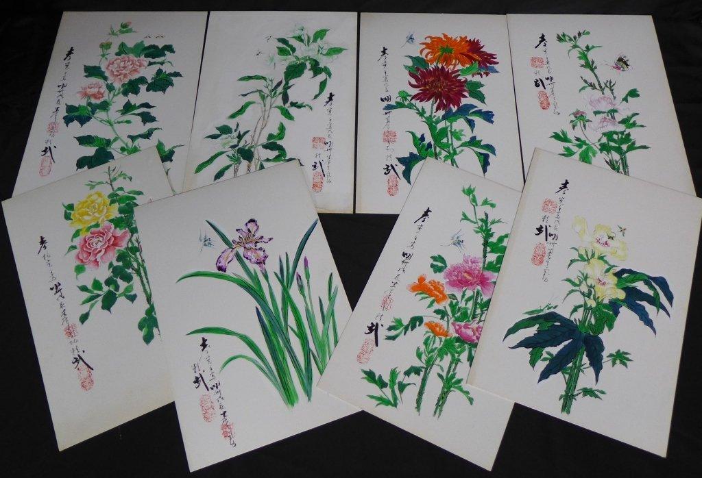 Asian Flower Studies, Original Paintings