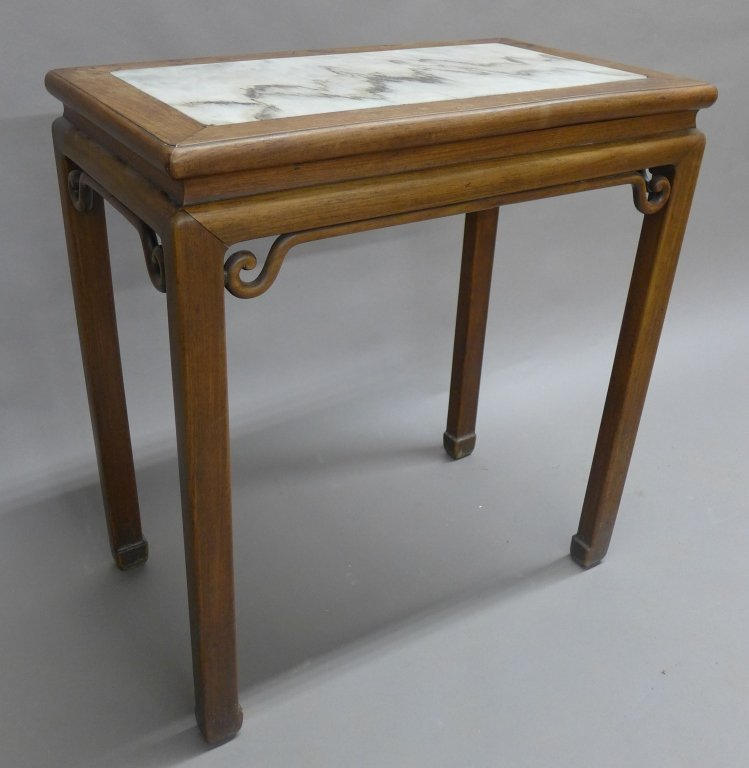 Chinese Hardwood Table with Inset Marble Top