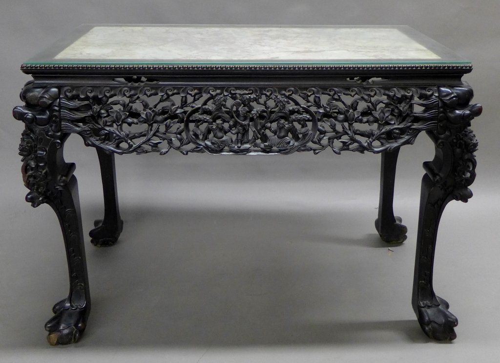 Asian Carved Hardwood Table with Inset Marble Top