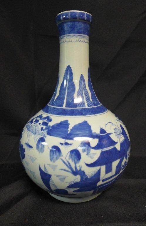 Large Chinese Canton Blue and White Bottle Vase