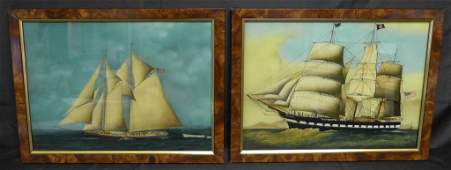 Pair of Maritime Reverse Paintings on Glass