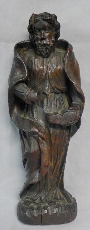 Antique Carved Oak Icon