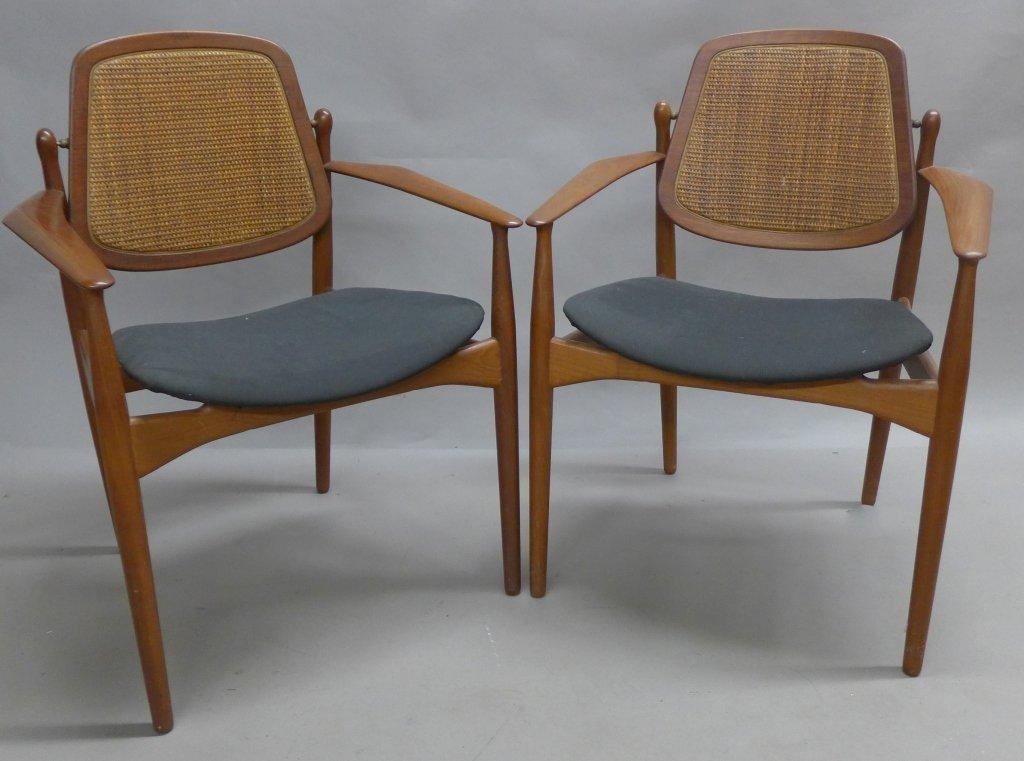 Pair Arne Vodder Danish Modern Teak Arm Chairs