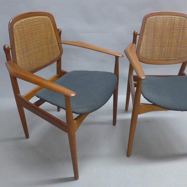Pair Arne Vodder Danish Modern Teak Arm Chairs - 2