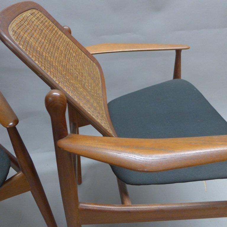 Pair Arne Vodder Danish Modern Teak Arm Chairs - 4