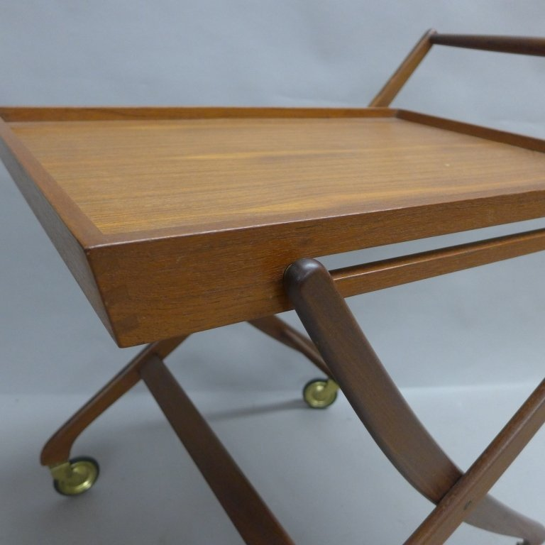 Mid Century Modern Teak  Danish Folding Tea Cart - 10