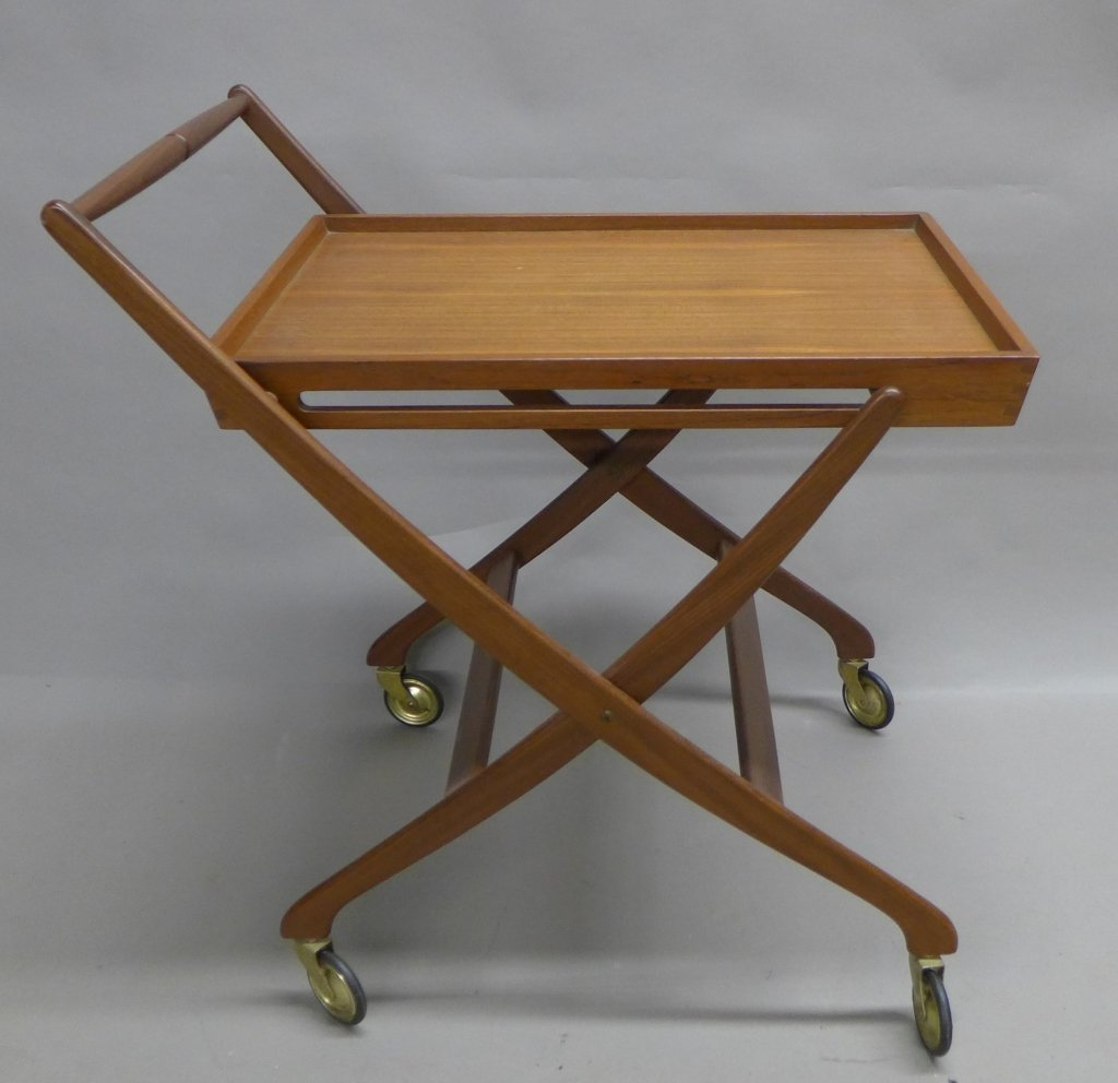 Mid Century Modern Teak  Danish Folding Tea Cart
