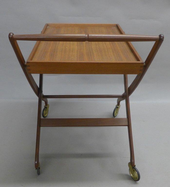 Mid Century Modern Teak  Danish Folding Tea Cart - 5