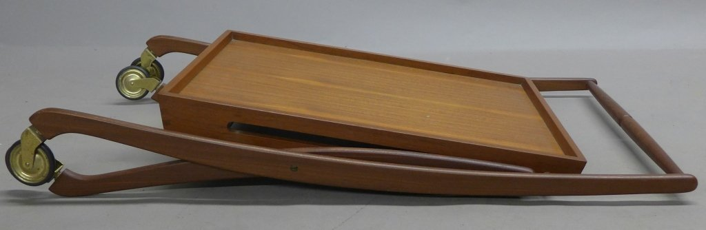 Mid Century Modern Teak  Danish Folding Tea Cart - 9
