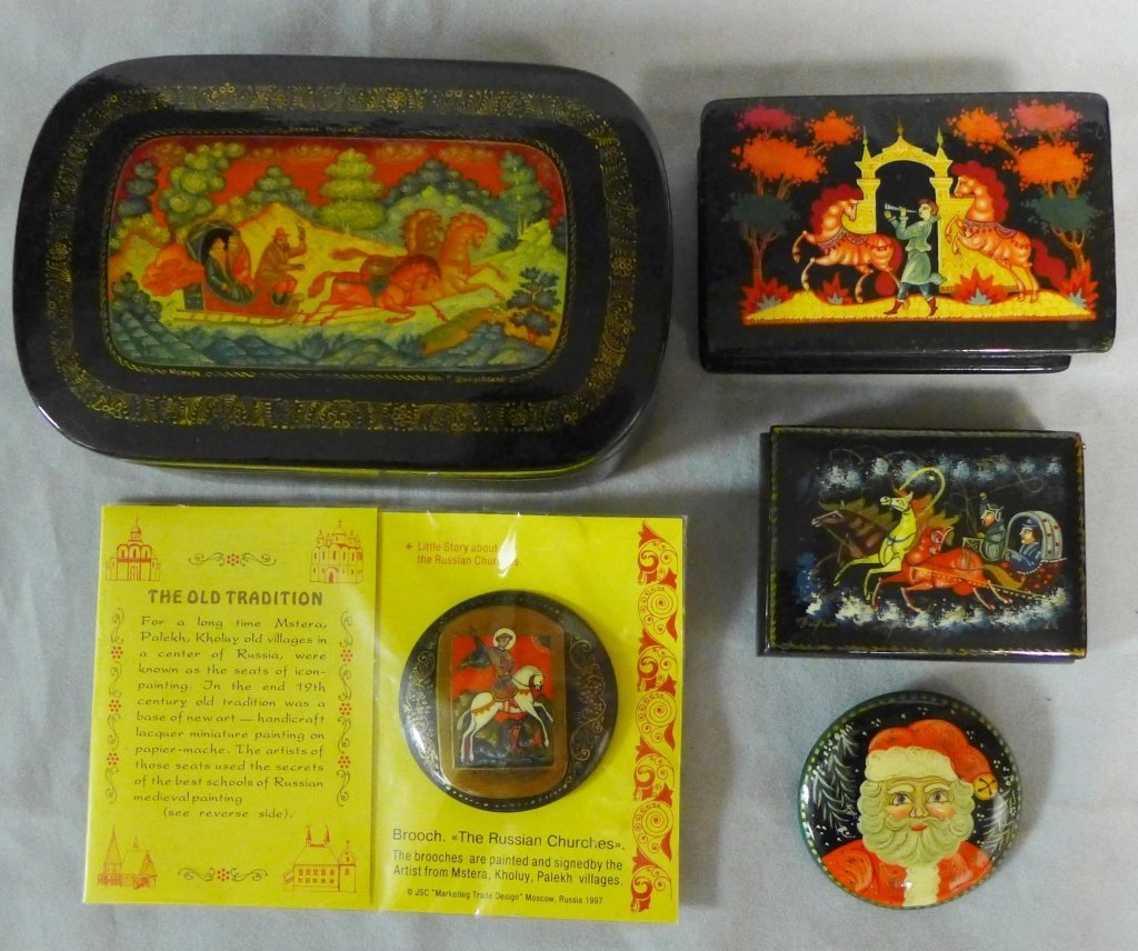 Russian Lacquer Boxes & Brooches