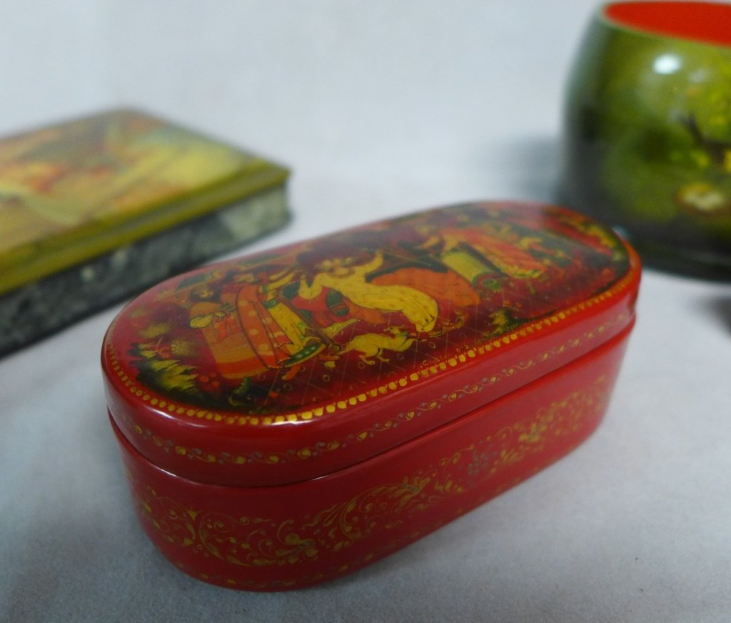 Hand Painted Russian Lacquer Boxes - 6