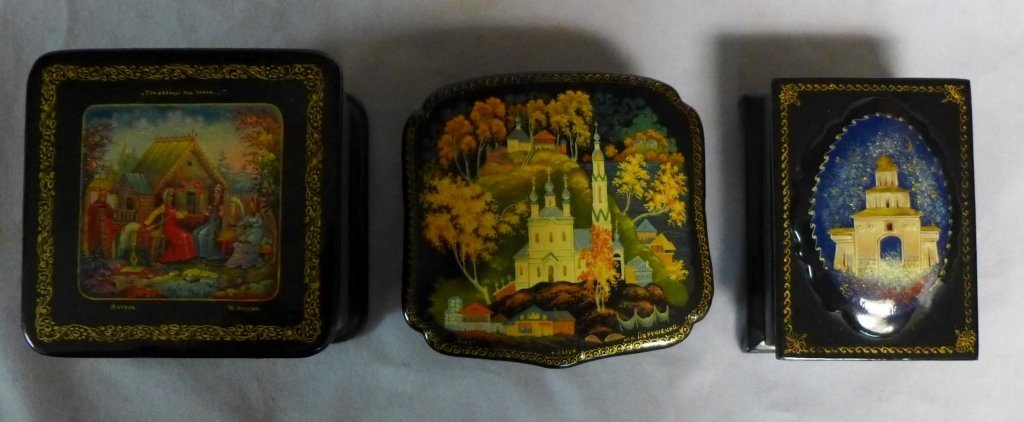 Russian Lacquer Box Grouping