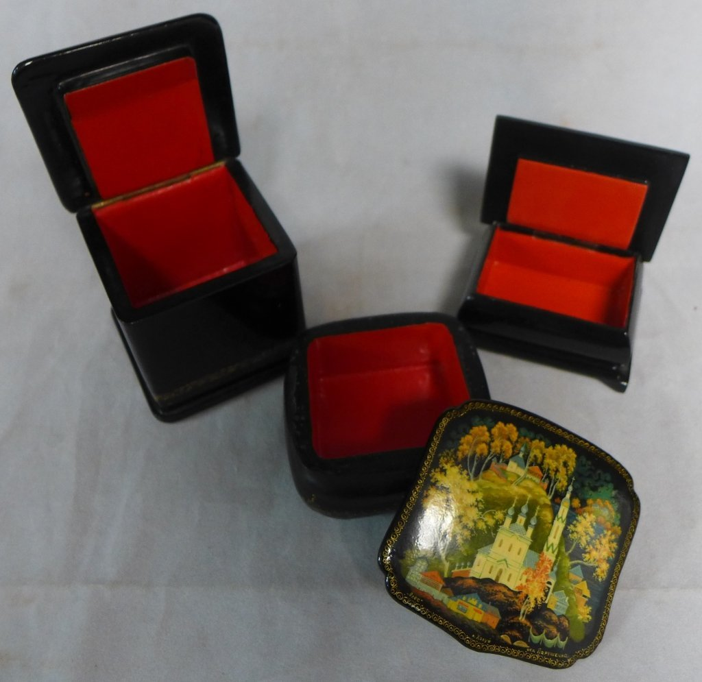 Russian Lacquer Box Grouping - 5