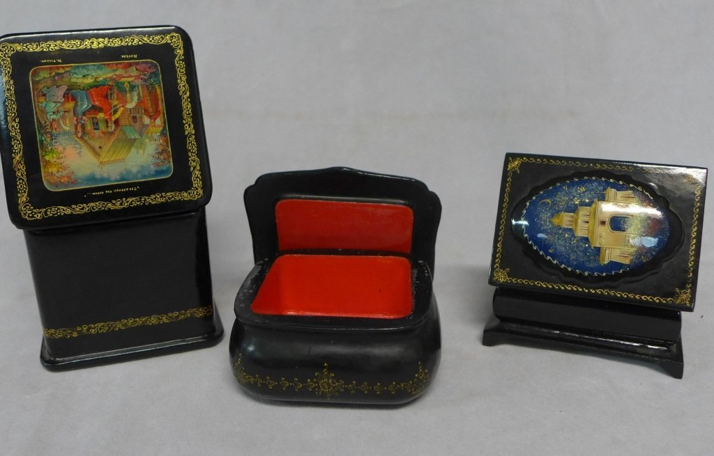 Russian Lacquer Box Grouping - 8