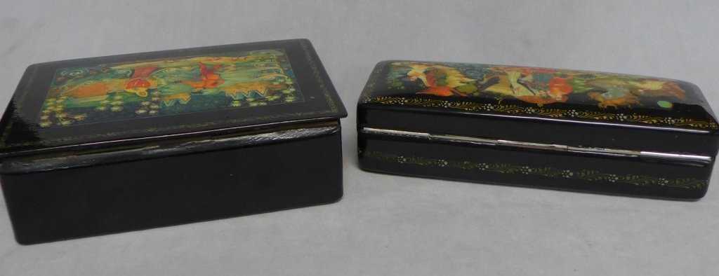 Two Russian Lacquer Boxes - 9