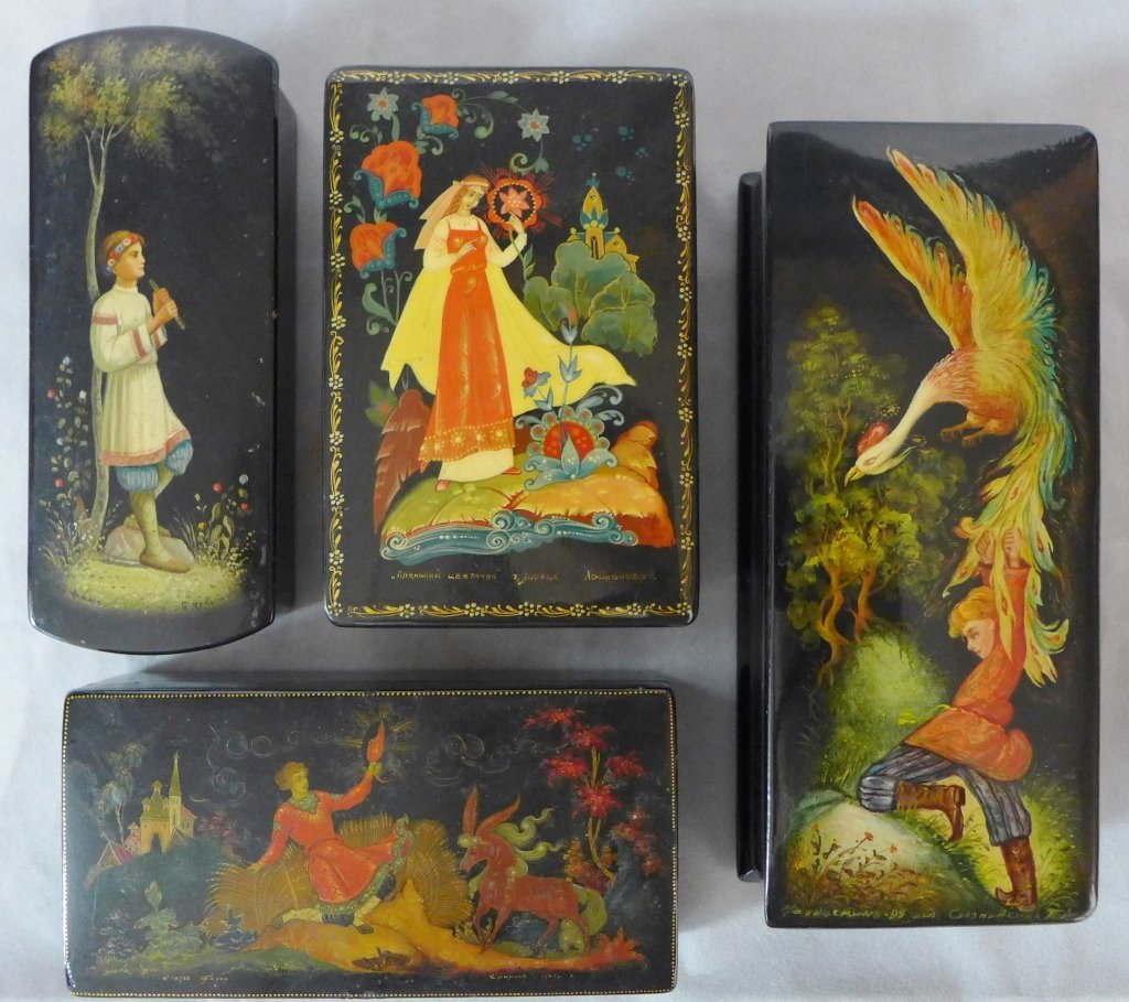 Russian Hand Painted Lacquer Boxes