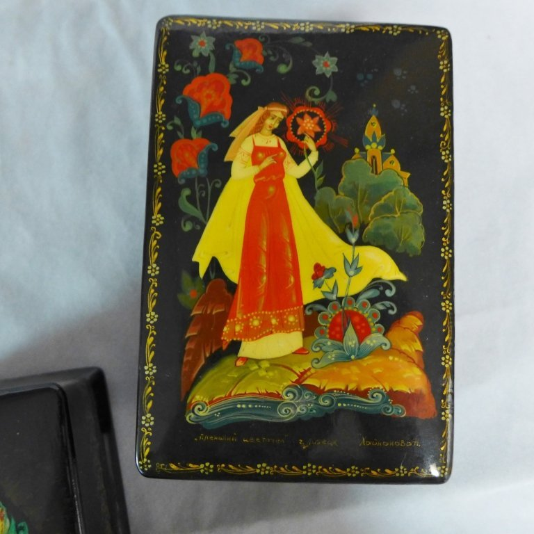 Russian Hand Painted Lacquer Boxes - 4