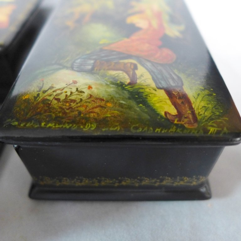 Russian Hand Painted Lacquer Boxes - 6