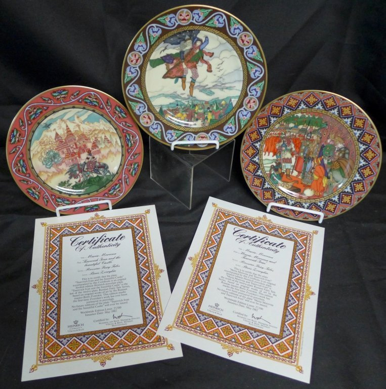 3 Heinrich Russian Fairy Tales Collector Plates