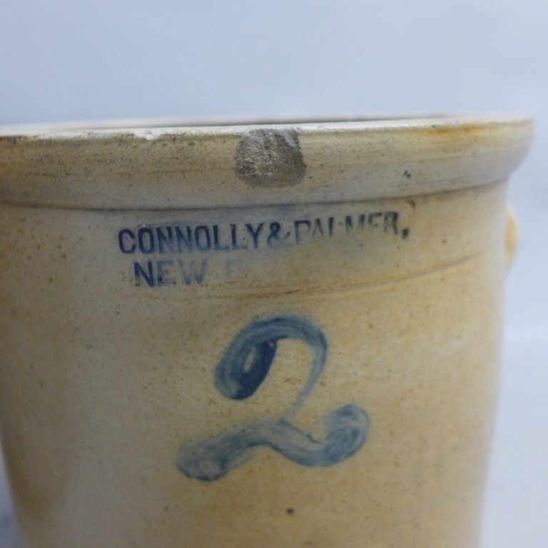 Antique Stoneware Pottery Crock - 4