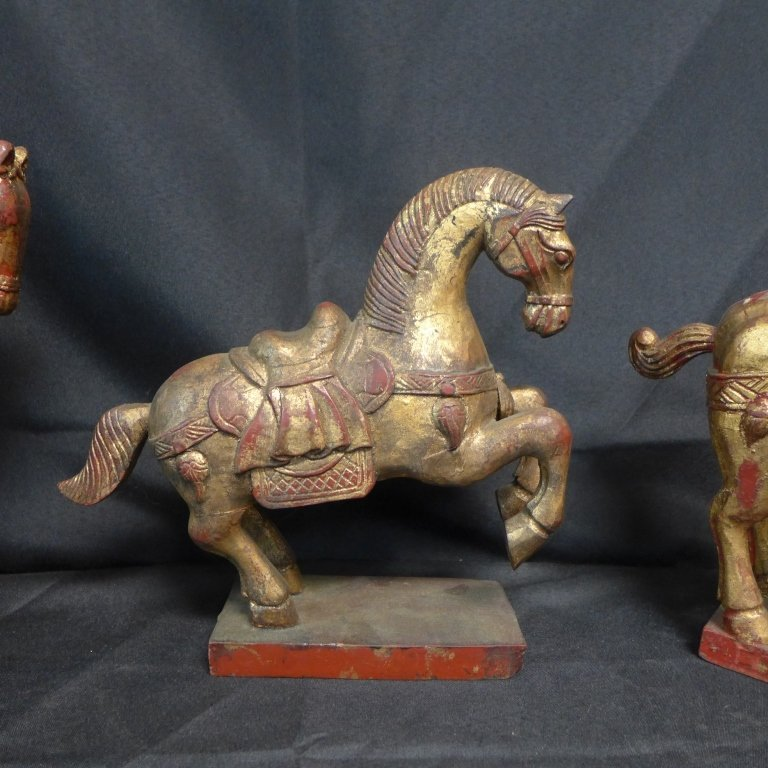 Grouping of Gilt and Painted Wood Tang Horses - 3