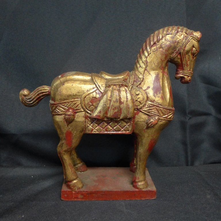 Grouping of Gilt and Painted Wood Tang Horses - 4