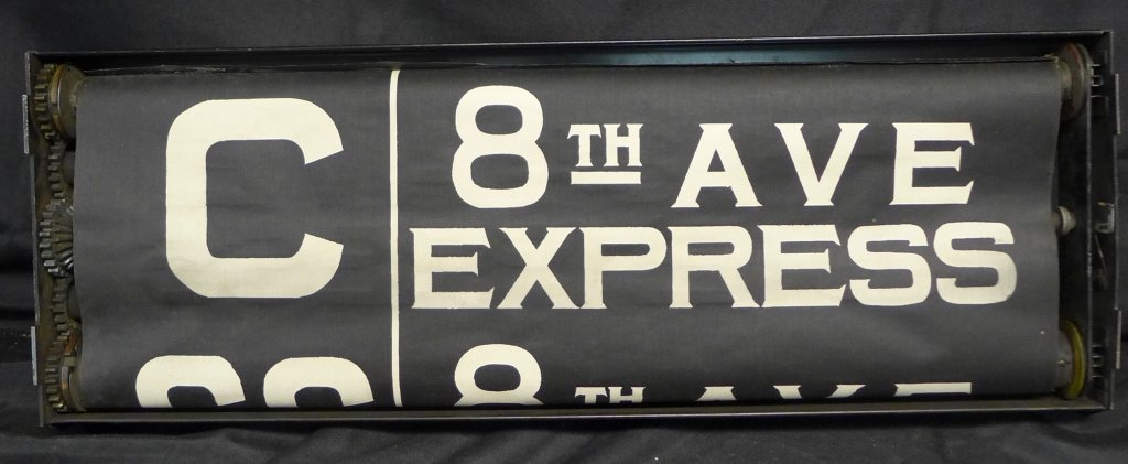 Original NYC Subway 8th Ave Line Sign