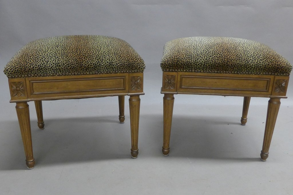 Pair Neoclassical Upholstered Stools