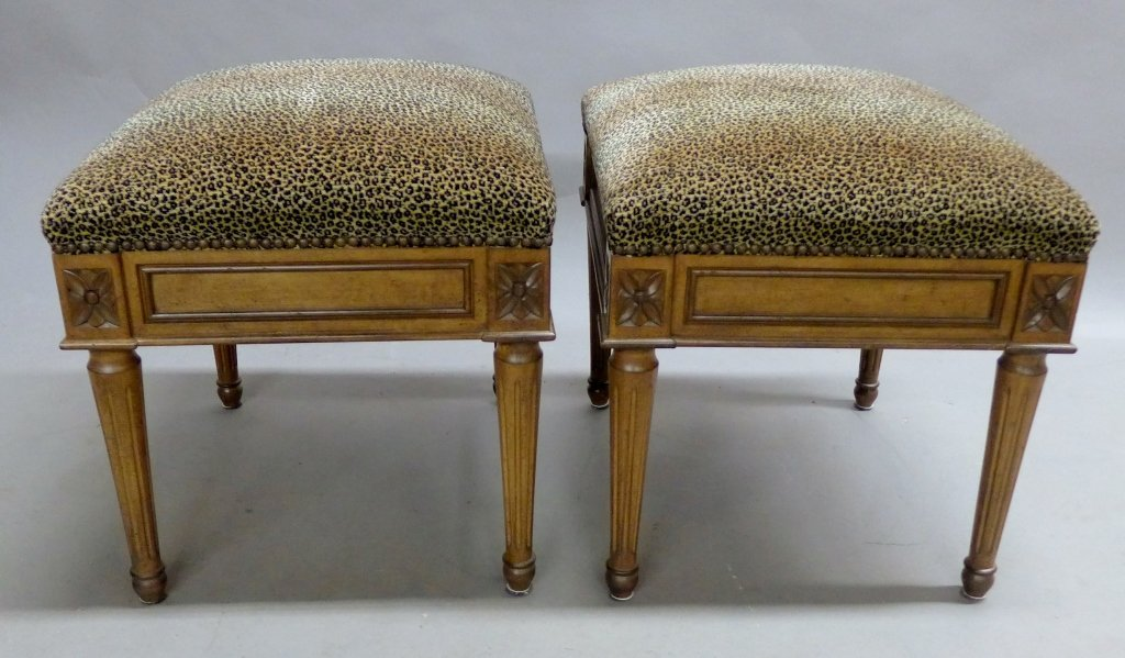 Pair Neoclassical Upholstered Stools - 5