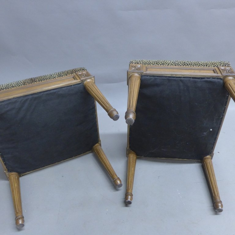 Pair Neoclassical Upholstered Stools - 8