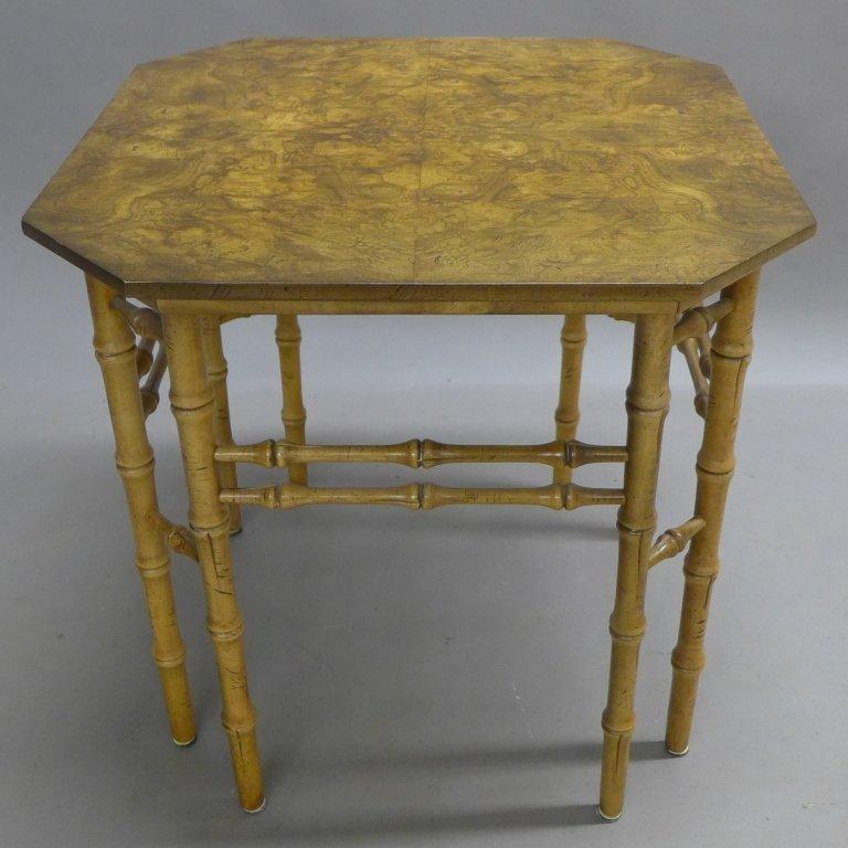 Modern Burl Wood Pattern & Faux Bamboo Frame Table