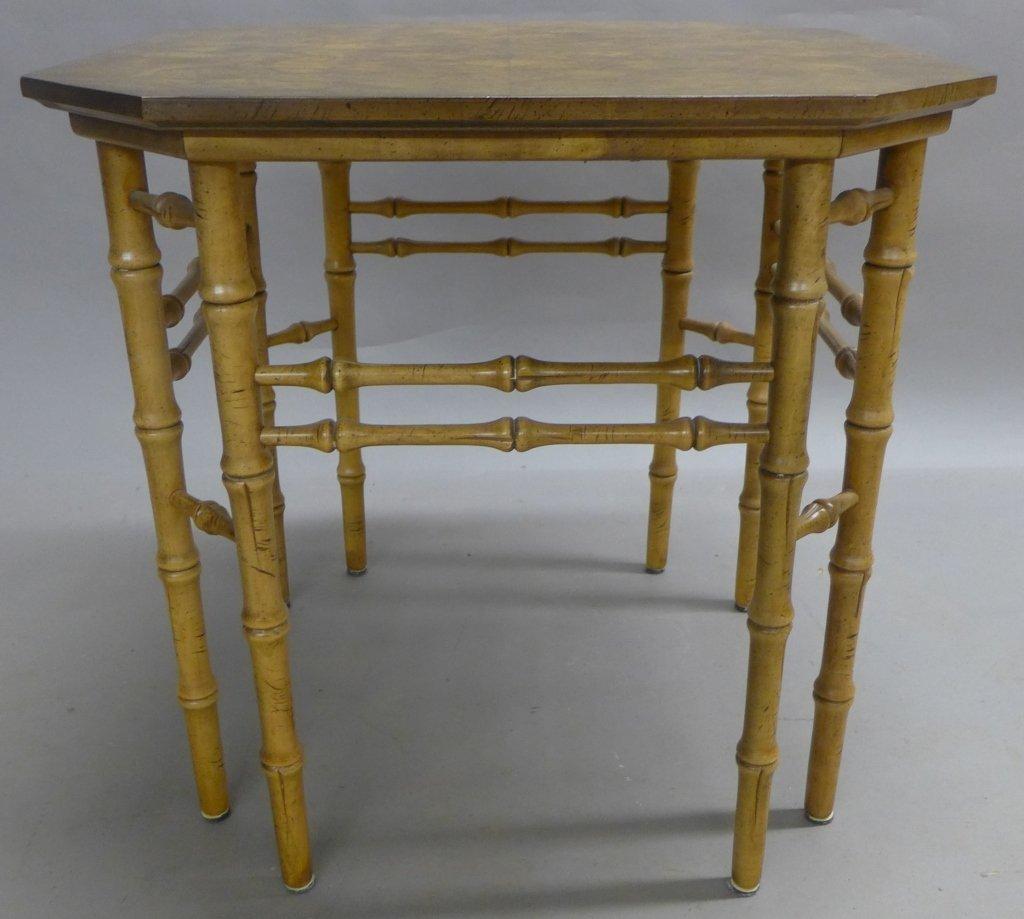 Modern Burl Wood Pattern & Faux Bamboo Frame Table - 2