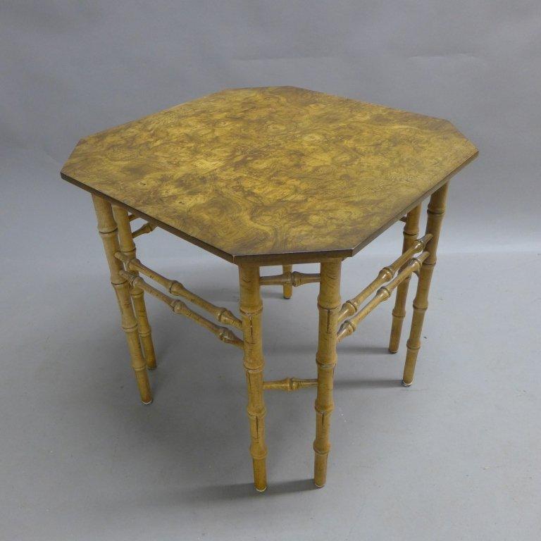 Modern Burl Wood Pattern & Faux Bamboo Frame Table - 3