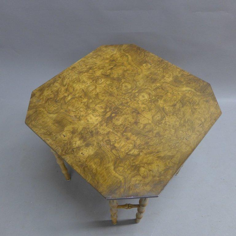 Modern Burl Wood Pattern & Faux Bamboo Frame Table - 4