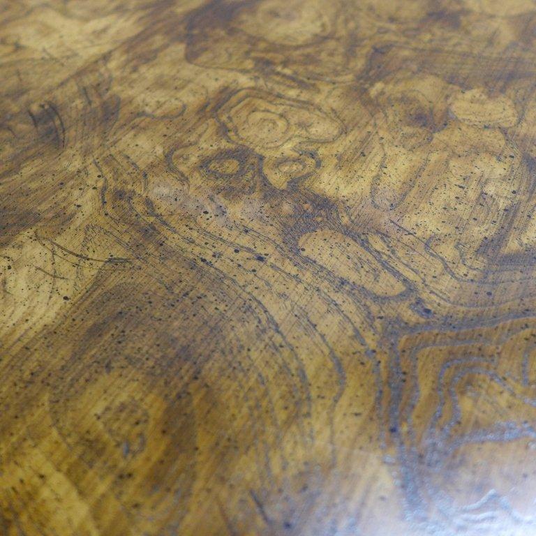 Modern Burl Wood Pattern & Faux Bamboo Frame Table - 5