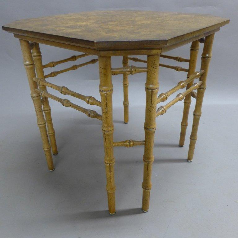 Modern Burl Wood Pattern & Faux Bamboo Frame Table - 6