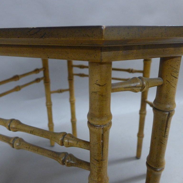 Modern Burl Wood Pattern & Faux Bamboo Frame Table - 7