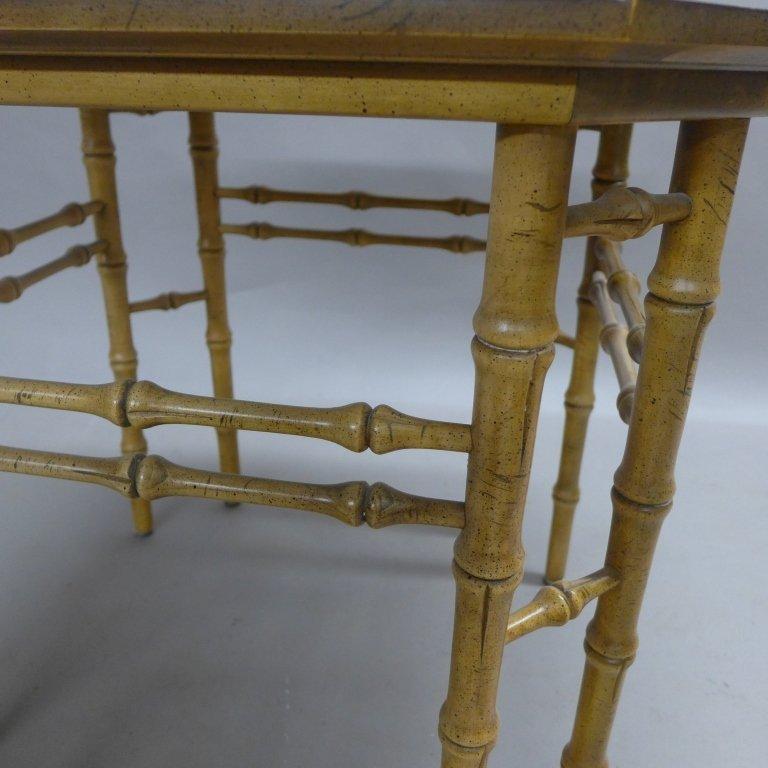 Modern Burl Wood Pattern & Faux Bamboo Frame Table - 8