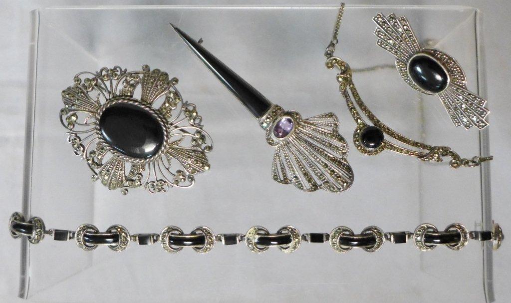 Art Deco Style Marcasite & Black Onyx Jewelry