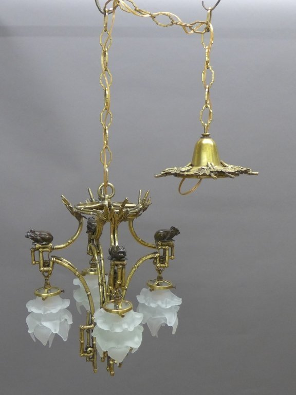 Gilt & Patinated Chinoiserie Chandelier - 2