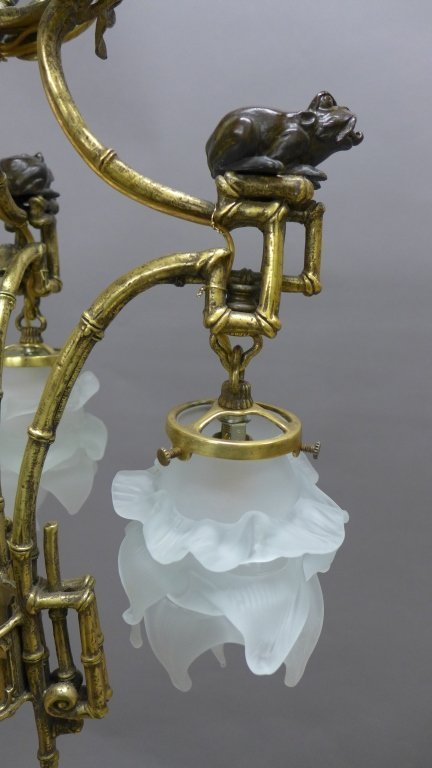 Gilt & Patinated Chinoiserie Chandelier - 6