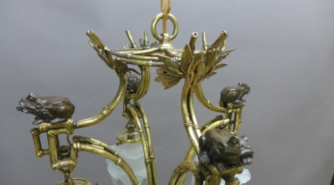 Gilt & Patinated Chinoiserie Chandelier - 7
