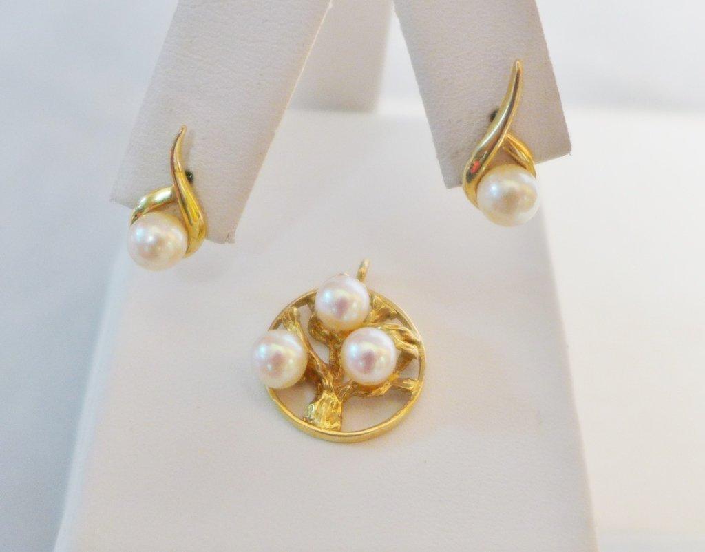 Gold & Pearl Tree of Life Pendant & Pearl Earrings